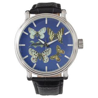 カラフルな蝶、ガおよび幼虫 腕時計