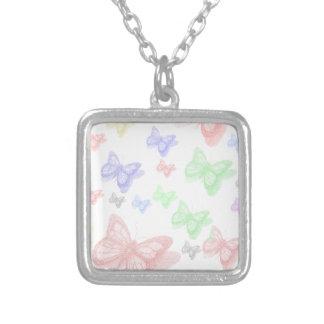 カラフルな蝶 シルバープレートネックレス