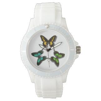 カラフルな蝶 腕時計