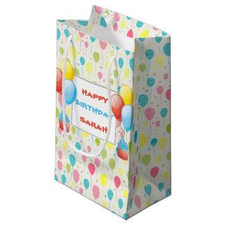 カラフルな誕生日の気球 スモールペーパーバッグ