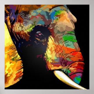 カラフルな象の頭部のポートレートのスケッチ ポスター