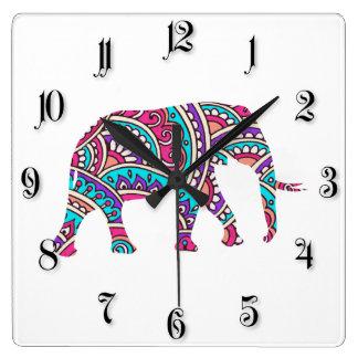 カラフルな象 スクエア壁時計