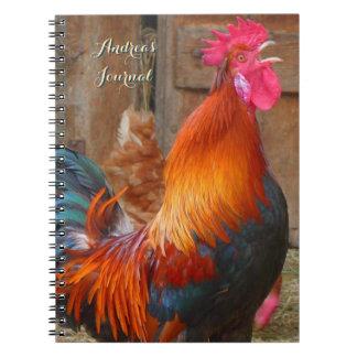 カラフルな農場のオンドリの個人的なジャーナル ノートブック