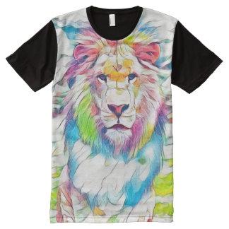 カラフルな野生のライオンの水彩画の鉛筆のファンタジーの芸術 オールオーバープリントシャツ