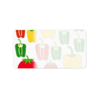 カラフルな野菜 ラベル