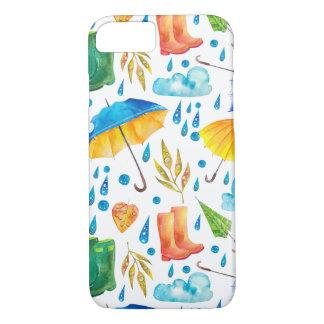 カラフルな雨の日パターン iPhone 7ケース