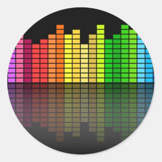 カラフルな音楽平衡装置w/Reflectionのクールなテクノ ラウンドシール