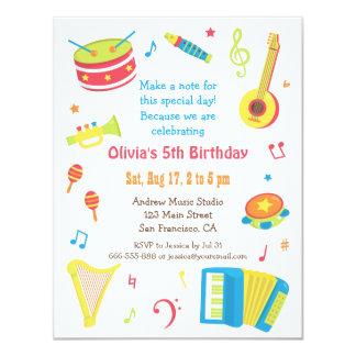 カラフルな音楽楽器の子供の誕生日のパーティ 10.8 X 14 インビテーションカード
