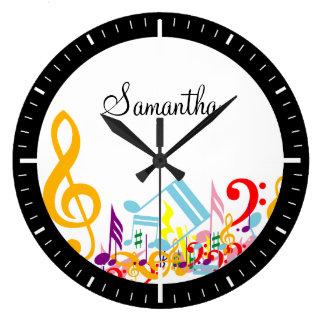 カラフルな音符 ラージ壁時計