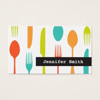 カラフルな食事用器具類のケータリングまたはシェフの名刺 名刺
