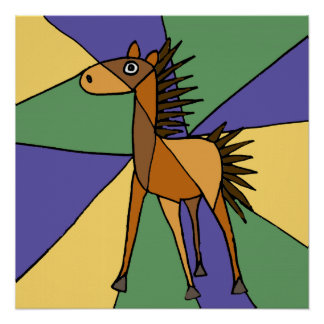 カラフルな馬の民芸ポスター ポスター