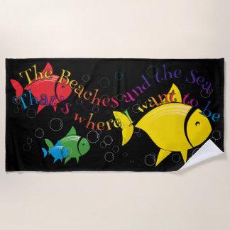 カラフルな魚のビーチタオルのデザイン ビーチタオル