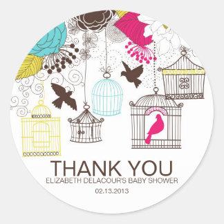 カラフルな鳥かごのベビーシャワーはステッカー感謝していしています ラウンドシール