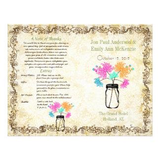 カラフルな《植物》百日草のメーソンジャーの結婚式プログラム チラシ