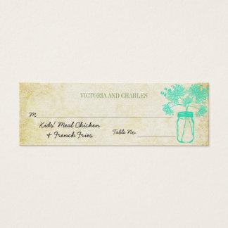 カラフルな《植物》百日草のメーソンジャーの野生花の結婚式メニュー スキニー名刺