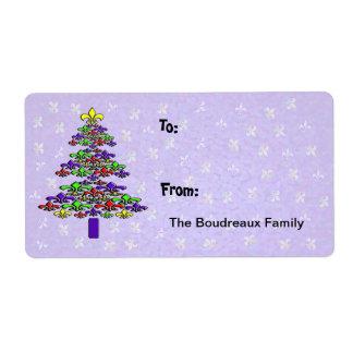 カラフルな(紋章の)フラ・ダ・リのクリスマスツリーのギフトのラベル 発送ラベル