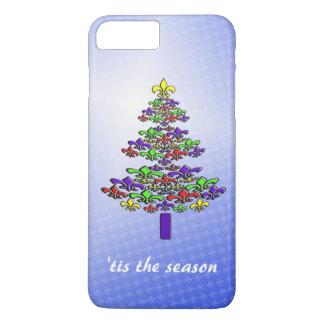 カラフルな(紋章の)フラ・ダ・リのクリスマスツリー iPhone 8 PLUS/7 PLUSケース