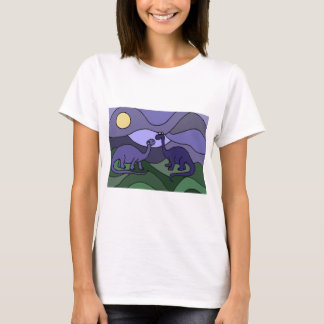 カラフルなBrontosaurusの恐竜の芸術 Tシャツ