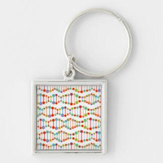 カラフルなDNAの構造パターン キーホルダー