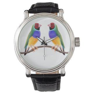 カラフルなGouldianのフィンチの鳥の腕時計 腕時計