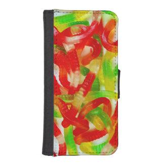 カラフルなgummiみみずのプリントのiphoneのウォレットケース iPhoneSE/5/5sウォレットケース