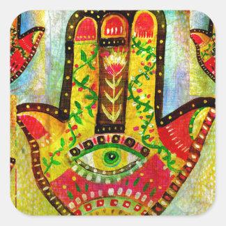 カラフルなHamsa手の芸術 正方形シール