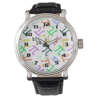 カラフルなPiパターン 腕時計