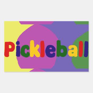 カラフルなPickleballの手紙の芸術のデザイン 長方形シール