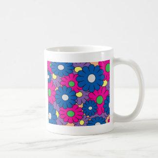 カラフルなpopartの花模様 コーヒーマグカップ