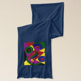 カラフルなSkinkのトカゲの抽象美術のスカーフ スカーフ