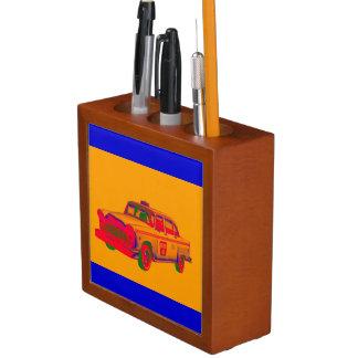 カラフルのチェック模様のタクシーのポップアート ペンスタンド