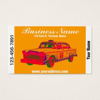 カラフルのチェック模様のタクシーのポップアート 名刺