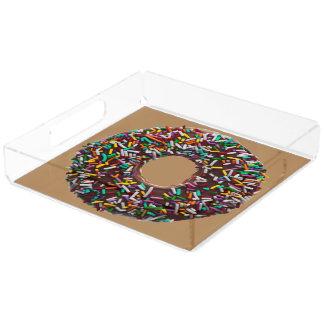 カラフルのチョコレートドーナツは振りかけます アクリルトレー