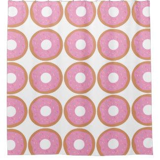 カラフルのピンクドーナツは振りかけます シャワーカーテン