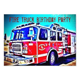カラフルの子供の普通消防車の誕生日のパーティの招待状 12.7 X 17.8 インビテーションカード