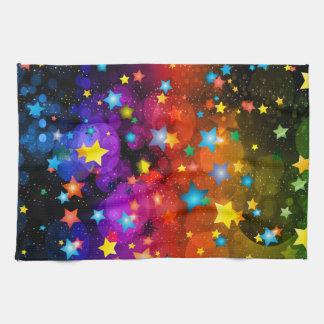 カラフルの星の抽象美術のデザイン キッチンタオル