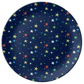 カラフルの星の空 磁器プレート
