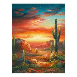 カラフルの砂漠の日没の絵画の絵画 ポストカード
