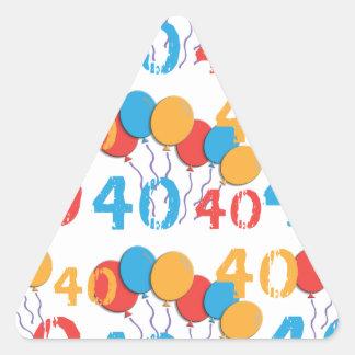 カラフルの第40誕生日のステッカー 三角形シール