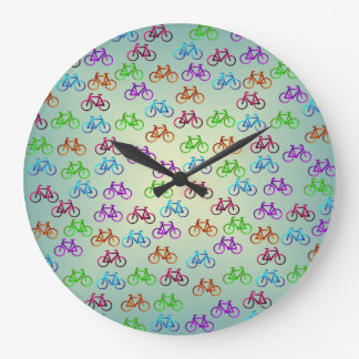 カラフルの自転車パターン柱時計 ラージ壁時計