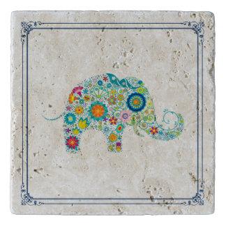 カラフルの花かわいい象の絵 トリベット
