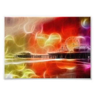 カラフルはサンタモニカ桟橋を抽出します フォトプリント