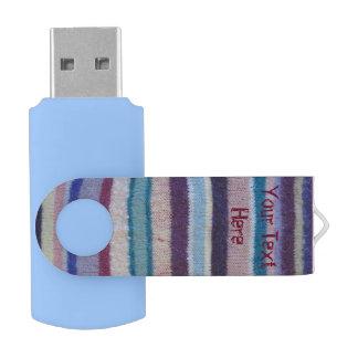 カラフルはストライプなヴィンテージのスタイルのおもしろいのデザインを編みました USBフラッシュドライブ