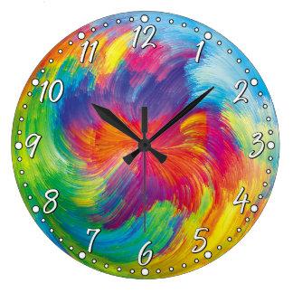 カラフルはフラクタル色の渦巻の柱時計を抽出します ラージ壁時計