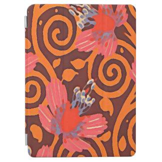 カラフルはブラウンの回転のピンクの蝶を抽出します iPad AIR カバー