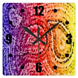 カラフルはモザイクペイズリーパターンを抽出します スクエア壁時計