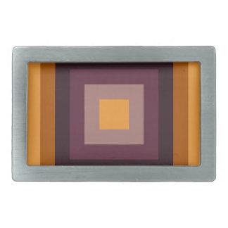 カラフルは同心の正方形パターンを抽出します 長方形ベルトバックル