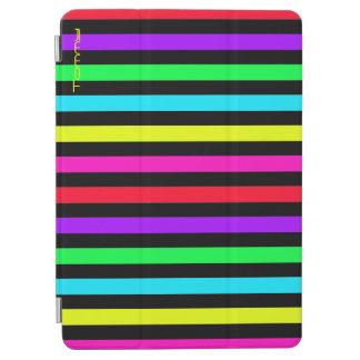 カラフルは名前の黒い背景に縞で飾ります iPad AIR カバー