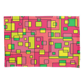 カラフルは正方形赤い黄色緑を抽出します 枕カバー