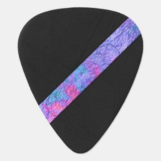 カラフルは水彩画のストライプで黒い革を壁紙を張ります ギターピック